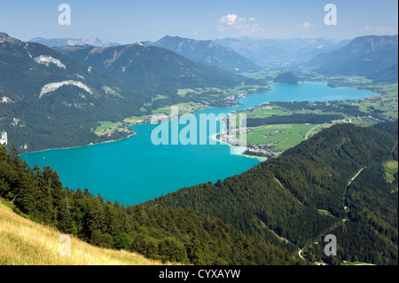 View from the zwölferhorn mountain on to the Wolfgangsee in Austria - Stock Photo