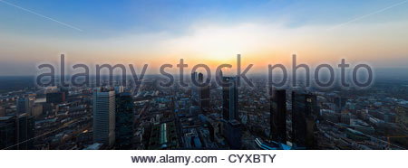 Germany, Frankfurt, View of town at sunset - Stock Photo