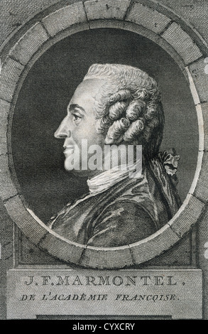 Jean Francois Marmontel (1723-1799). French writer and historian. Engraving. 18th century. - Stock Photo