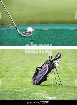 Golf clubs and golf balls on a green background Black golf bag on green grass as a background - Stock Photo