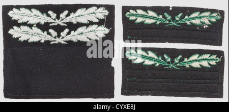 Three rank-badges for the camouflage-uniform, RZM-machine-embroidered issues, green on black cloth for 'SS-Oberführer', - Stock Photo