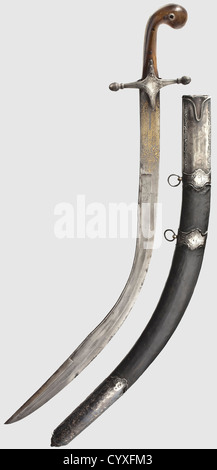 A silver-mounted Kilij, Ottoman, circa 1800 Strongly curved, single-edged, wootz-Damascus, Persian blade with slight - Stock Photo