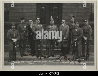Johann Singer, a framed dedication picture of Hitler from 3 April 1924 The famous Hoffmann photo 'The Defendants - Stock Photo