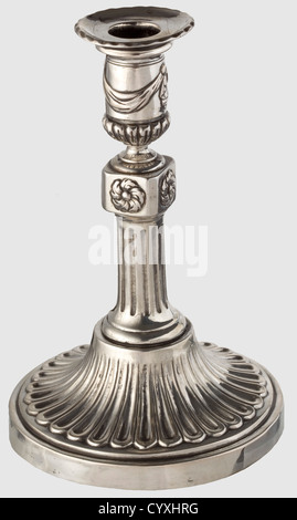 A pair of neoclassic silver candle holders, Dresden circa 1780/90 Feet with gadrooned decoration in relief. Short, - Stock Photo