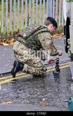 12th November 2012, Belfast, Northern Ireland.  Soldier from 321 EOD squadron, Royal Logistics Corp,   (a.k.a. the - Stock Photo