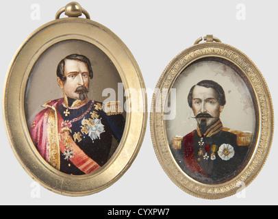 SECONDE REPUBLIQUE ET SECOND EMPIRE 1848-1870, Deux miniatures représentant l'Empereur Napoléon III, Peintures réalisées - Stock Photo