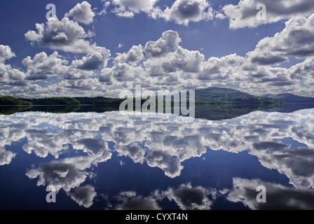 Ireland, Eire, County Sligo, Lough Gill, Calm reflection of clouds in the water. - Stock Photo
