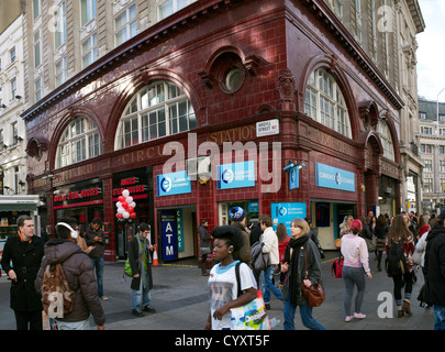 The original entrance and exit to Oxford Circus Underground Station on the corner of Argyll Street and Oxford Street, - Stock Photo