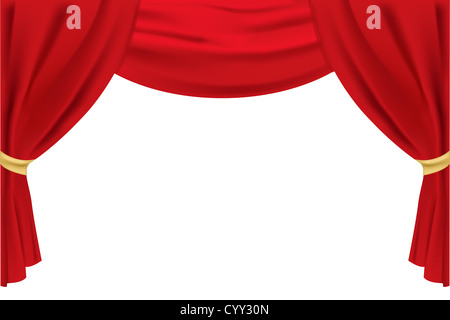 illustration of stage curtain on isolated background - Stock Photo