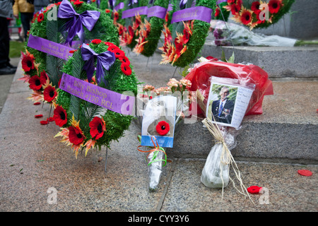 Poppy's and wreaths are laid on the steps of the Cenotaph on Remembrance Day in Vancouver's Victory Square. - Stock Photo