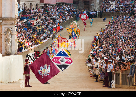 europe, italy, tuscany, siena, palio of siena, flags of the contrade of siena
