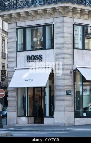 Boss, Hugo Boss store- Avenue de l'Opéra, Paris, France - Stock Photo