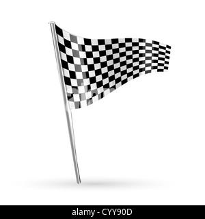 illustration of racing flag on white background - Stock Photo