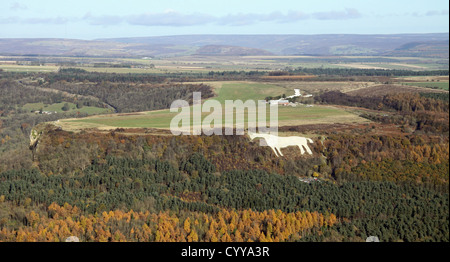 aerial view of The White Horse at Kilburn and Sutton Bank Gliding Club airfield, North Yorkshire - Stock Photo