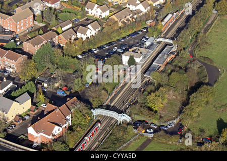 aerial view of Theydon Bois underground station in Essex - Stock Photo