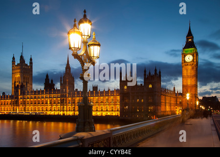 Big Ben and the Houses of Parliament from Westminster Bridge, London England, UK - Stock Photo