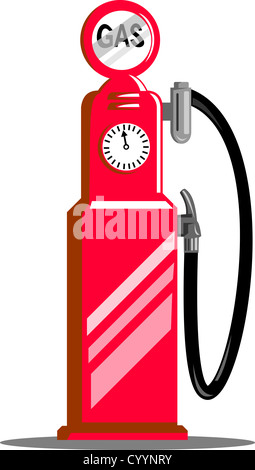 illustration of a vintage fuel pump nozzle station done in retro style on isolated white background - Stock Photo