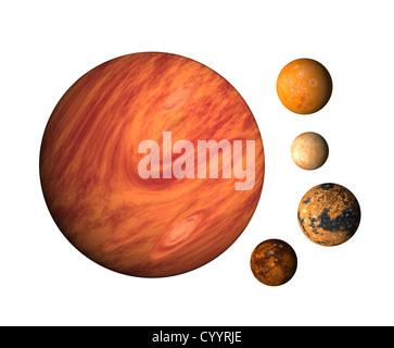 illustration of planet Jupiter with moons europa, callisto,ganymede,io on isolated background - Stock Photo
