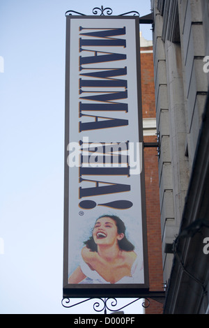A Billboard Advertising the West end Show Mamma Mia London England - Stock Photo
