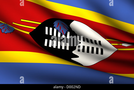 Flying Flag of Swaziland . All Countries Collection . - Stock Photo