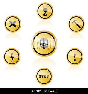 illustration of warning icons on white background - Stock Photo