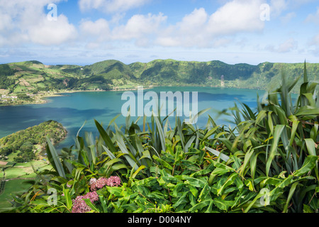 View over Sete Cidades lake on Sao Miguel island in The Azores. - Stock Photo