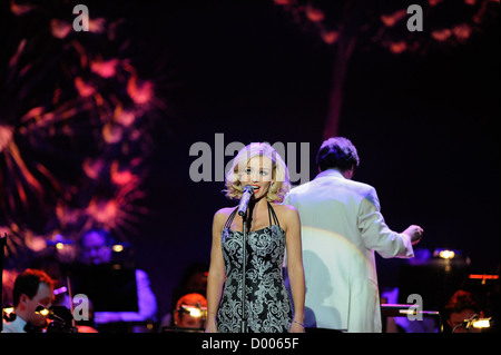 BRIGHTON. UK. 10/02/2012. Katherine Jenkins performs at the Brighton Centre as part of her Daydream Tour - Stock Photo