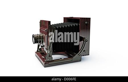 old wood frame photo camera isolated on white background - Stock Photo