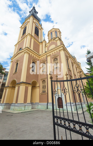 That cathedral is the largest Serbian Orthodox church in Sarajevo. - Stock Photo