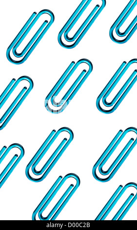 Blue paper clips against white background - Stock Photo