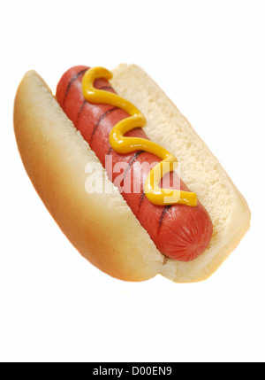 Freshly grilled hot dog with yellow mustard - Stock Photo