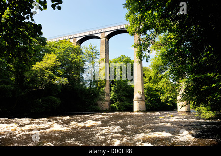 Pontcysyllte Aqueduct finished 1805 carries canal boats on Llangollen Canal over the River Dee valley near Wrexham, - Stock Photo