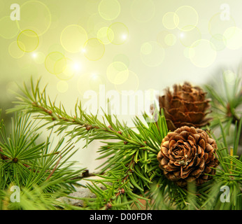 Pine cones on branches with holiday background - Stock Photo