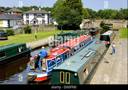 Narrowboats at Trevor canal basin on the Llangollen Canal at Pontcysyllte aqueduct near Wrexham, Wales, UK - Stock Photo