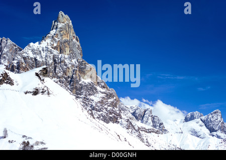 Italy, Dolomites, Trentino Alto Adige the Pale di San Martino mountain seen from the Rolle Pass - Stock Photo