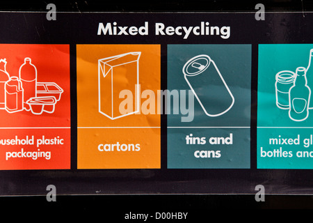 Recycling bins for mixed items (paper, glass, plastic etc) in Hackney, London, UK. - Stock Photo