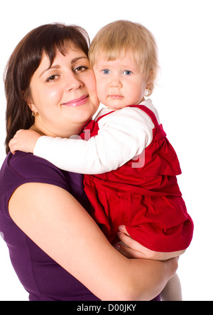 Happy mother holding tight one year daughter isolated on white - Stock Photo