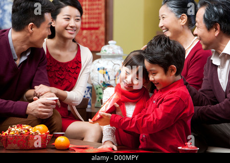 Big family celebrating Chinese New Year - Stock Photo