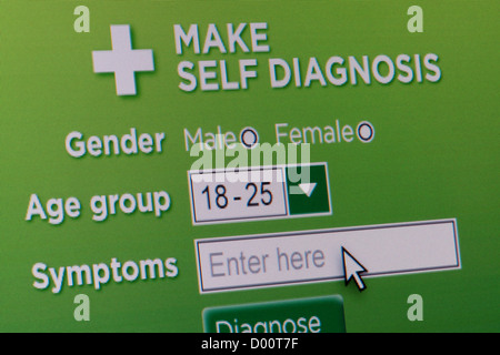 Close up of a fictional website inviting users to make a medical self diagnosis. - Stock Photo