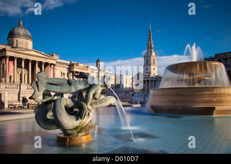 Trafalgar Square with St. Martins in the Field, National Gallery, West End, London England, UK - Stock Photo