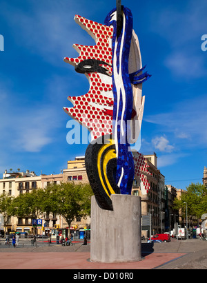 Ceramic sculpture El Cap de Barcelona or The Head by Roy Lichtenstein created for the 1992 summer Olympics held - Stock Photo