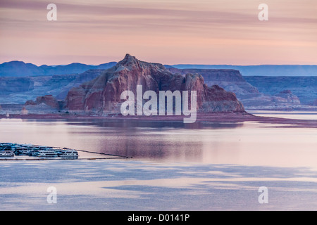 Soft, early morning light at Wahweap Marina on Lake Powell in the Glen Canyon National Recreation Area. - Stock Photo