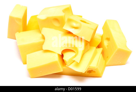 piece of cheese on white background - Stock Photo