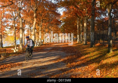 Man on a bicycle riding the Hudson RIver Greenway in Fort Washington Park - Stock Photo