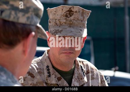 Marine Gen. John Allen, International Security Assistance Force (ISAF) Commander, meets with Army Gen. Martin E. - Stock Photo