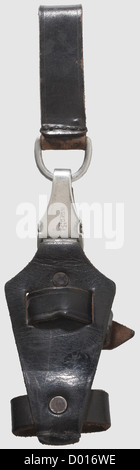 A vertical hanger, for the for the model 1933 SS service dagger Blackened leather stamped 'SS 48/34 RZM', nickeled - Stock Photo