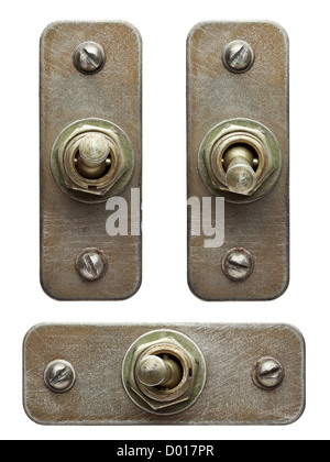 Aged metal toggle switches set. - Stock Photo