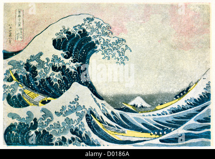 The Great Wave off Kanagawa, also known as The Great Wave or simply The Wave,  a woodblock print by Hokusai - Stock Photo