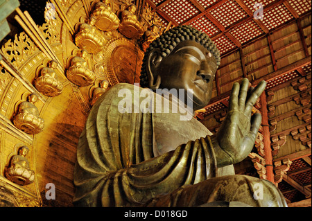The great bronze statue of Buddha at Todaiji temple, Nara, Japan - Stock Photo