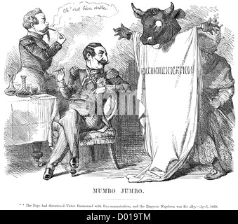 Mumbo Jumbo. Political cartoon about the Pope threatening Victor Emmanuel with Excommunication, April 1860 - Stock Photo